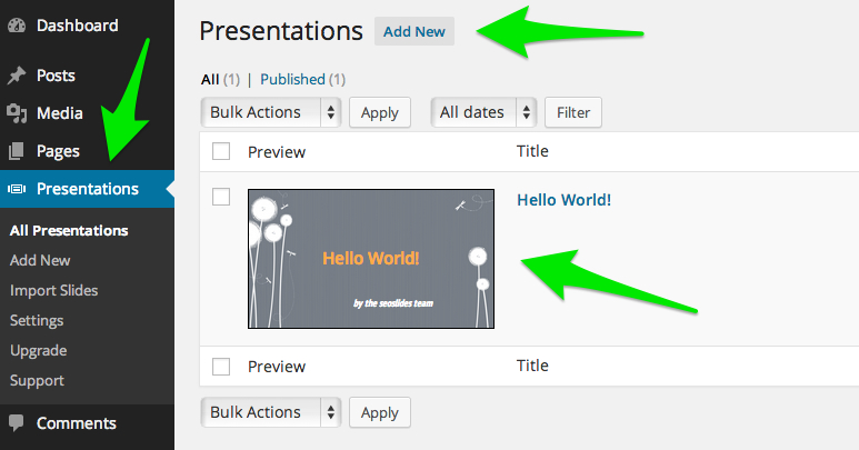 Add Slides to WordPress