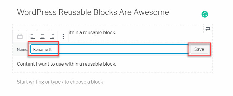 Rename the Reusable Block -- this creates an entirely new Reusable Block, a great way to create a new Reusable Block based on a previous version.