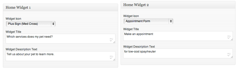 Home page widget options on the backend.