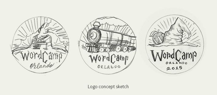 Progress of the WordCamp Orlando 2015 Logo