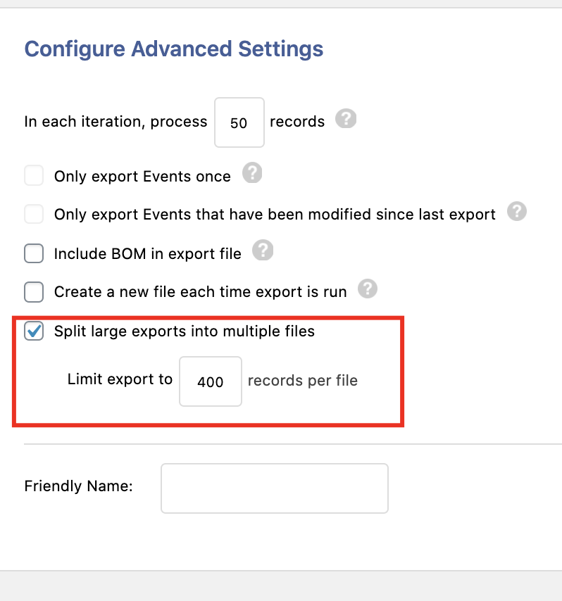 Here is how to export events with WP All Export: Configure Advanced Settings. A red box outlines 'Split Large Exports Into Multiple Files'.