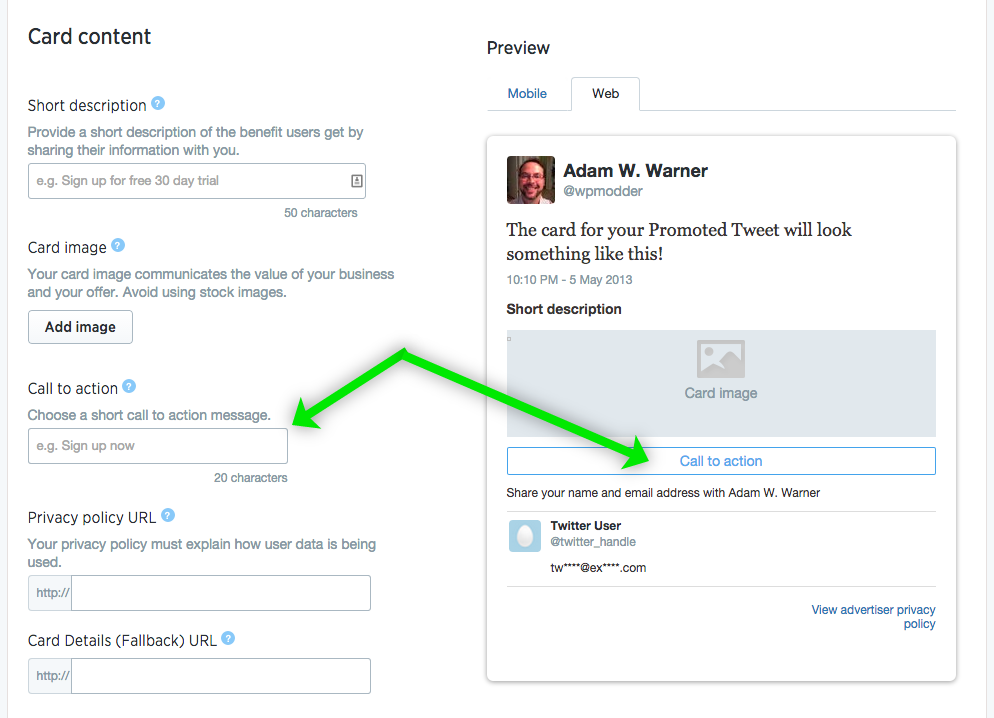 Twitter Lead Generation Card Setup