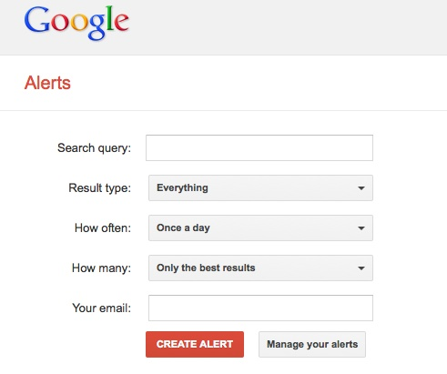 Setup up a Google Alert