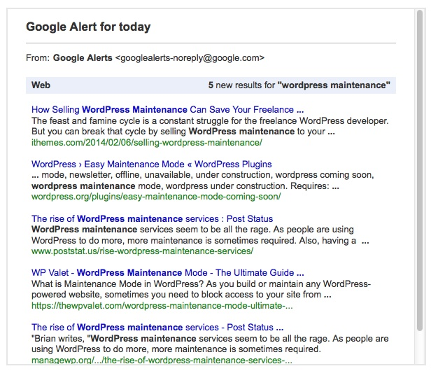 WordPress Maintenace Google Search