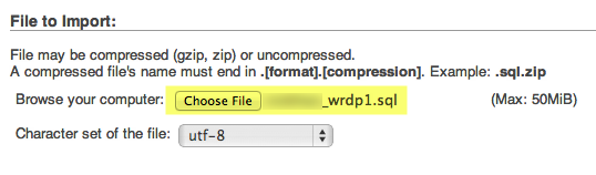 a screenshot of the upload fields for uploading a database back in phpMyAdmin