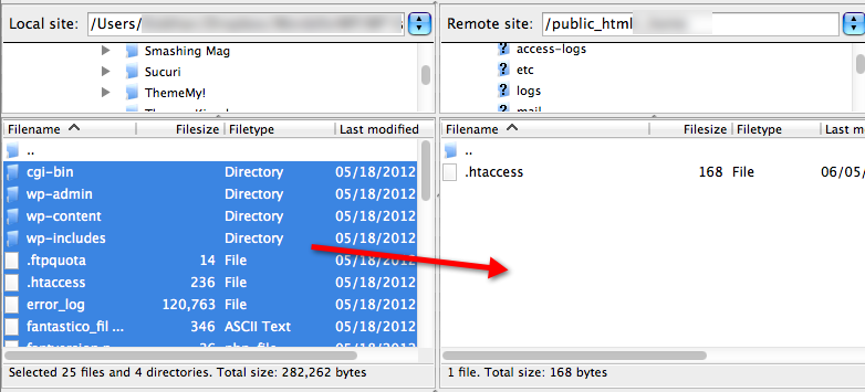 a screenshot of Filezilla. The files on the local site are highlight and a red arrow indicates that they are to be dragged and dropped to the remote server