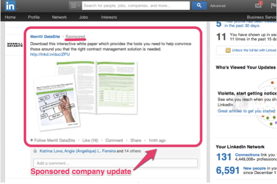 sponsored company update - linkedin ads