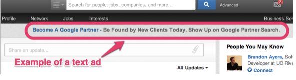text ad example - linkedin ads