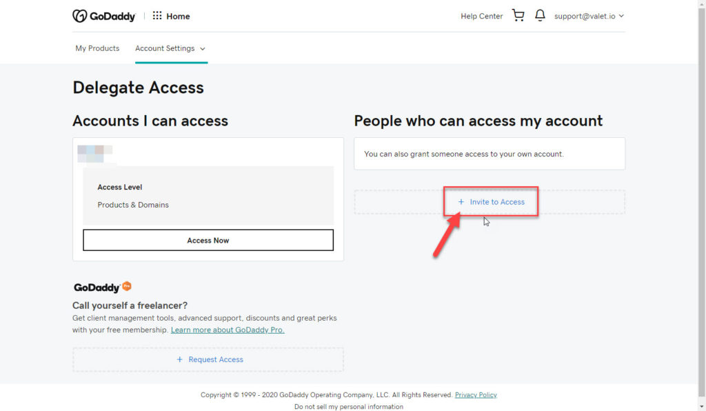 "Delegate Access, underneath the ""People who can access my account"" an arrow indicates the button that reads: Invite to Access."