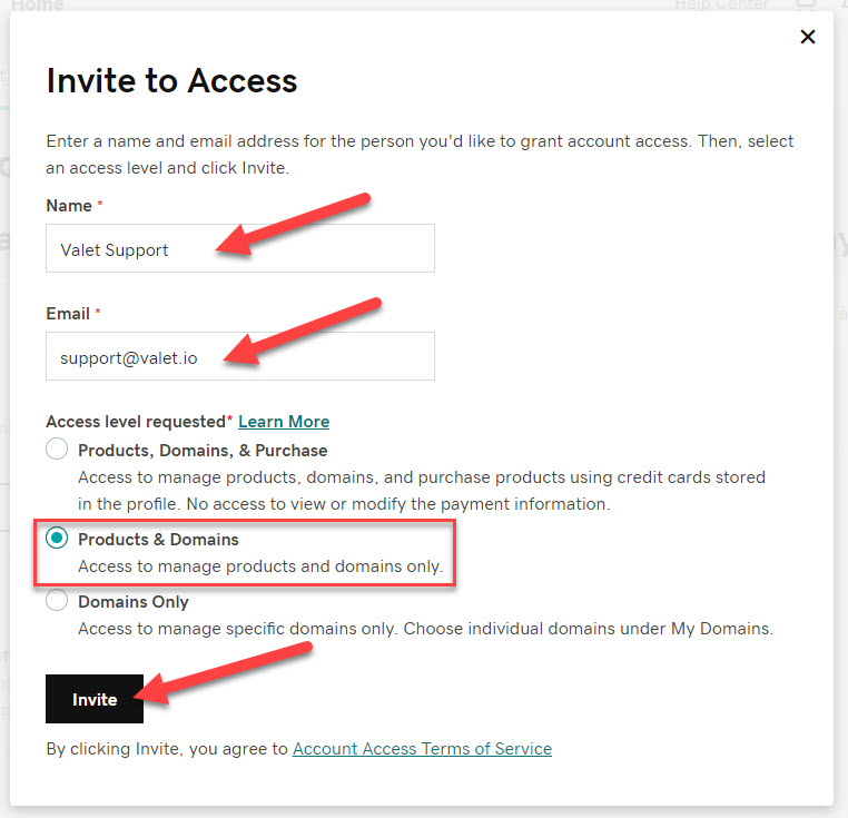 Invite to Access page arrows indicate where to fill out your name, and email address for the person you'd like to grant account access. And where to select what Access Level will be required. Then an arrow indicating the button that reads: Invite.