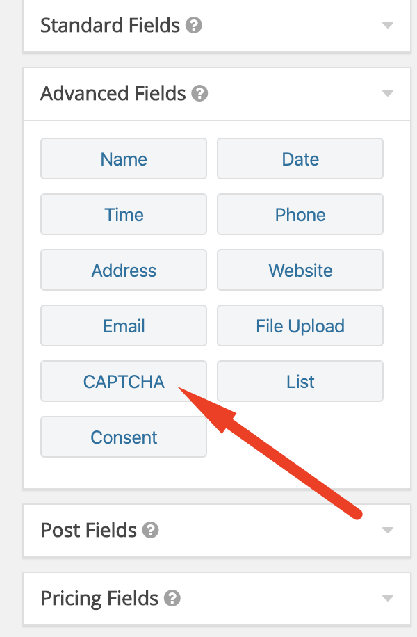 to add reCAPTCHA, when creating form, just add it from the right sidebar, under Advanced Fields. You can easily drag and drop.