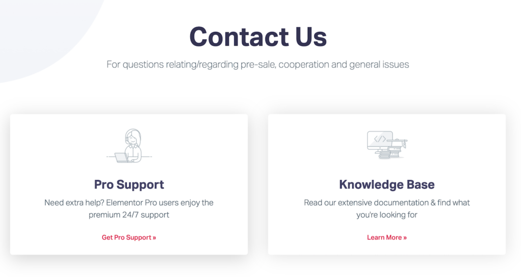 Screenshot of the contact us support page for Elementor Pro