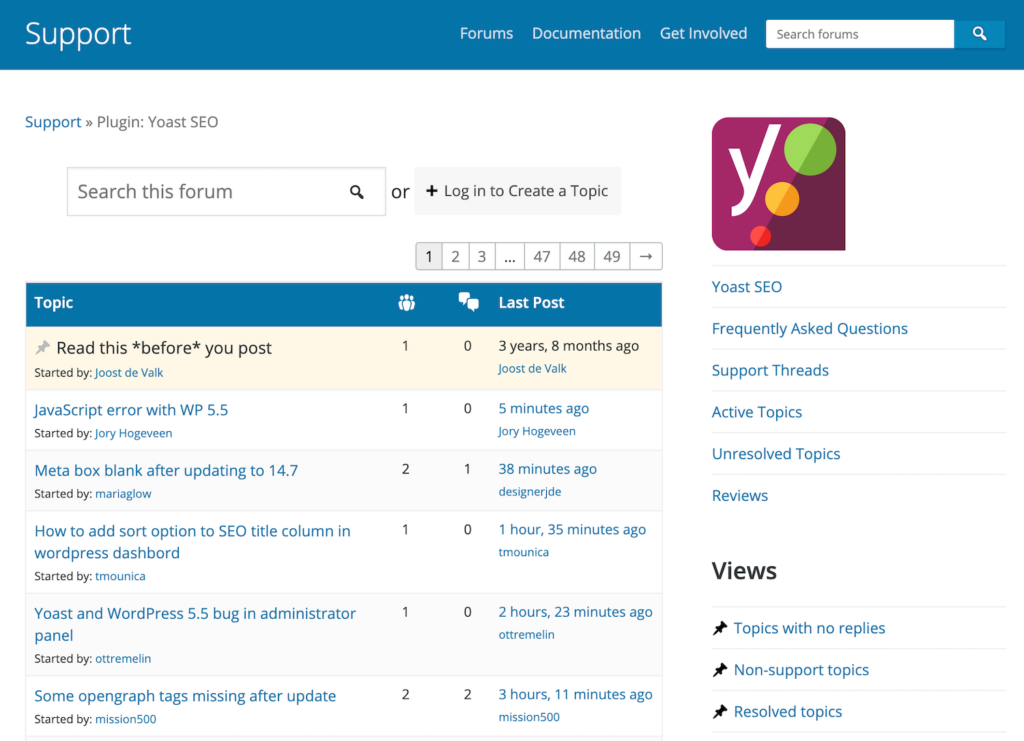 Screenshot of support topics for the Yoast SEO plugin
