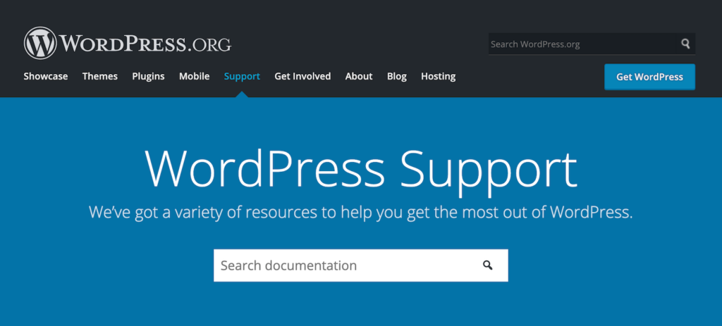 Screenshot of the WordPress.org support search page