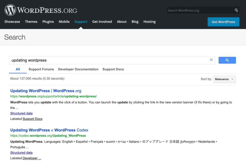 Screenshot of a search on WordPress.org support