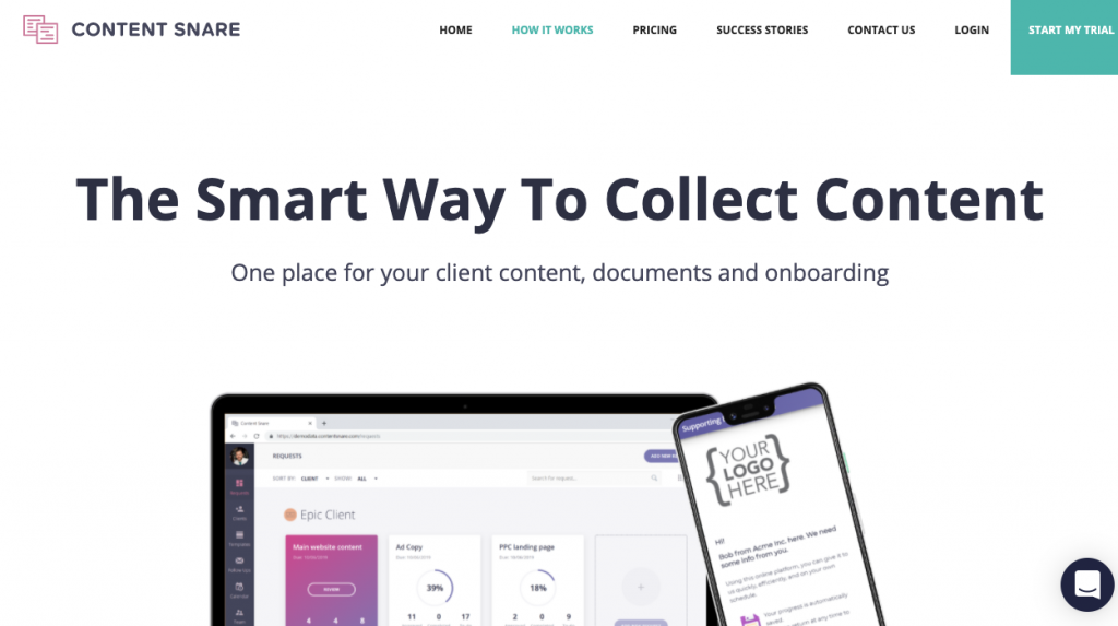 Use a tool to collect client information: Content Snare, the smart way to collect content.